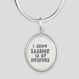 Bassoon is my superpower Silver Oval Necklace