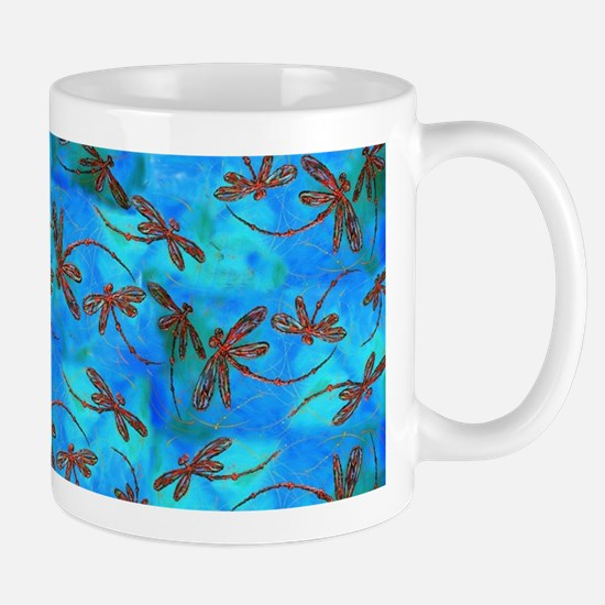 Dragonfly Flit Red Splash Mugs