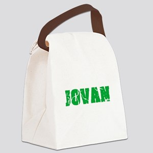 Jovan Name Weathered Green Design Canvas Lunch Bag