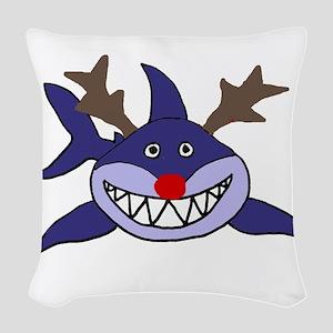 Funny Christmas Shark Reindeer Woven Throw Pillow