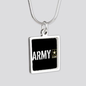 U.S. Army: Army (Black) Silver Square Necklace