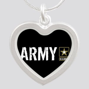 U.S. Army: Army (Black) Silver Heart Necklace