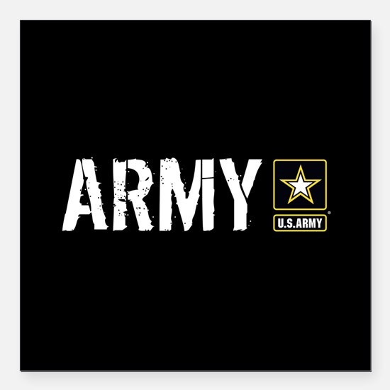 "U.S. Army: Army (Black) Square Car Magnet 3"" x 3"""