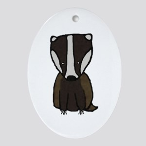 Baby Badger Oval Ornament