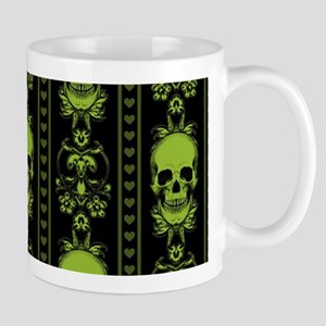 Baroque Skull Stripe Pattern Green Mug