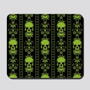 Baroque Skull Stripe Pattern Green Mousepad