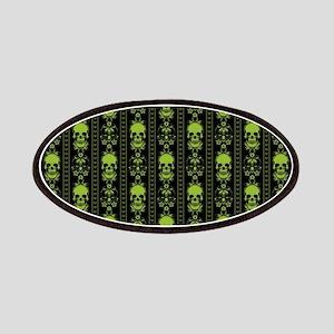 Baroque Skull Stripe Pattern Green Patch