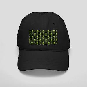 Baroque Skull Stripe Pattern Green Black Cap