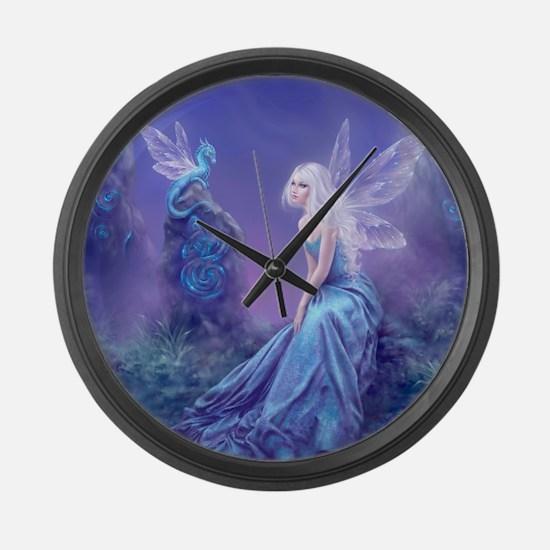 Luminescent Dragon & Fairy Large Wall Clock