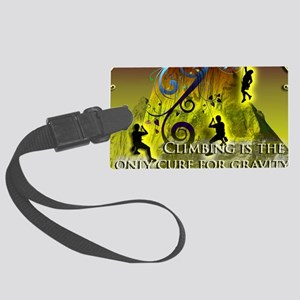 Climbing Cures Gravity Large Luggage Tag