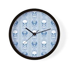 Baroque Skull Stripe Pattern Blue Wall Clock