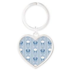 Baroque Skull Stripe Pattern Blue Heart Keychain