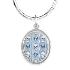 Baroque Skull Stripe Pattern Silver Oval Necklace