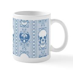 Baroque Skull Stripe Pattern Blue Mug