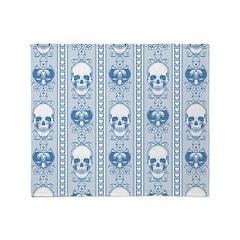 Baroque Skull Stripe Pattern Blue Throw Blanket