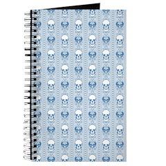 Baroque Skull Stripe Pattern Blue Journal