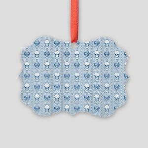 Baroque Skull Stripe Pattern Blue Picture Ornament