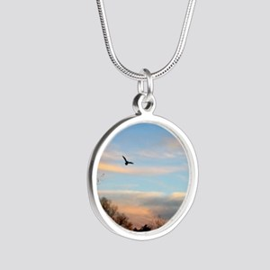 Bird Flying At Sunset Silver Round Necklaces