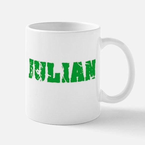 Julian Name Weathered Green Design Mugs