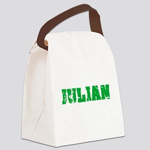 Julian Name Weathered Green Desig Canvas Lunch Bag