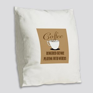 Coffee Required Burlap Throw Pillow