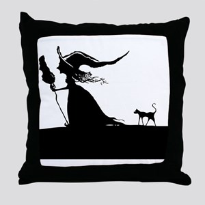 Witch & Cat Throw Pillow