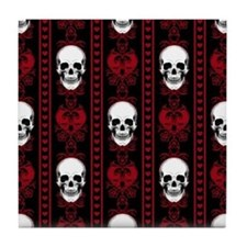 Baroque Skull Stripe Pattern Red Tile Coaster