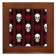 Baroque Skull Stripe Pattern Red Framed Tile