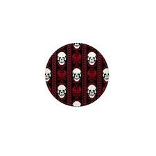 Baroque Skull Stripe Pattern Red Mini Button