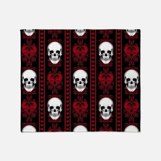 Baroque Skull Stripe Pattern Red Throw Blanket