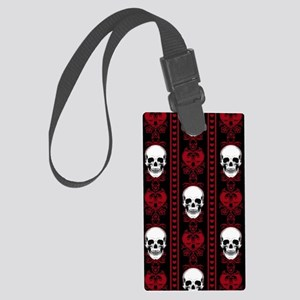 Baroque Skull Stripe Pattern Red Large Luggage Tag