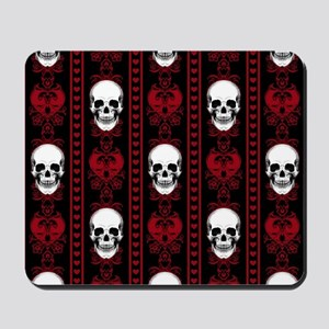 Baroque Skull Stripe Pattern Red Mousepad