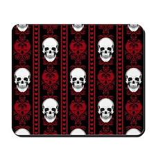 Baroque Skull Stripe Pattern Red Mousepad