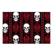 Baroque Skull Stripe Patt Postcards (Package of 8)
