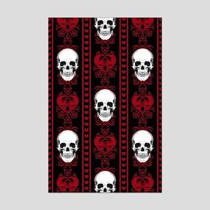 Baroque Skull Stripe Pattern Red Mini Poster Print