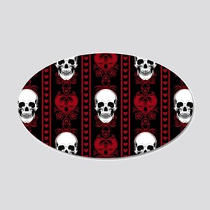 Baroque Skull Stripe Pattern 20x12 Oval Wall Decal
