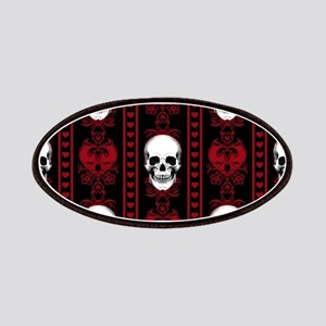 Baroque Skull Stripe Pattern Red Patch