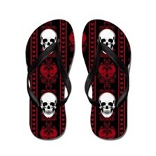 Baroque Skull Stripe Pattern Red Flip Flops