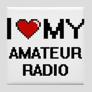 I Love My Amateur Radio Digital Retro Tile Coaster
