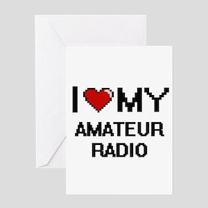I Love My Amateur Radio Digital Ret Greeting Cards