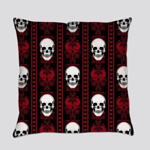Baroque Skull Stripe Pattern Red Everyday Pillow