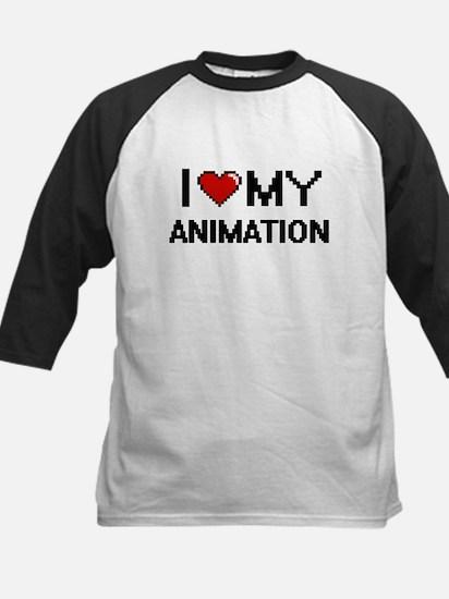 I Love My Animation Digital Retro Baseball Jersey