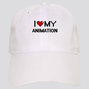I Love My Animation Digital Retro Design Cap