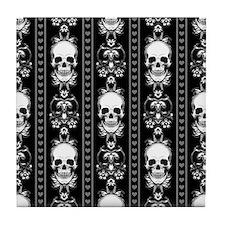 Baroque Skull Stripe Pattern Black Tile Coaster