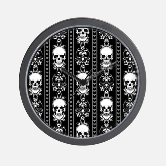 Baroque Skull Stripe Pattern Black Wall Clock