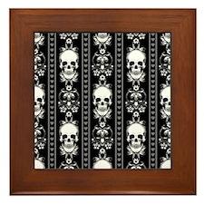 Baroque Skull Stripe Pattern Black Framed Tile