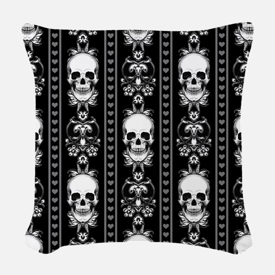 Baroque Skull Stripe Pattern B Woven Throw Pillow