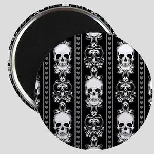 Baroque Skull Stripe Pattern Black Magnet
