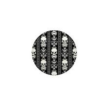 Baroque Skull Stripe Pattern Black Mini Button