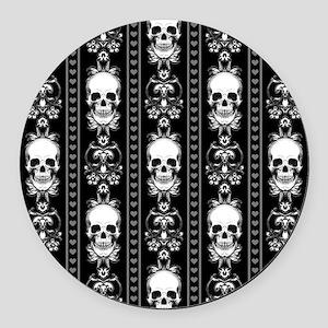 Baroque Skull Stripe Pattern Blac Round Car Magnet